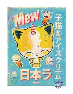 Mew, Mew, Mew! Print for Japan LA Kittens & Ice Cream Show, June 4, 2011 © 64 Colors