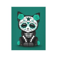 Cute Teal Blue Day of the Dead Kitten Cat Canvas Print. This cute design features a small kitten decorated with Day of the Dead patterns.