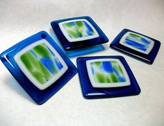 Blue Fused Glass Coasters Green White