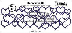 Decorette XL stans/die no. 14, In elkaar grijpende harten/Interlocking hearts