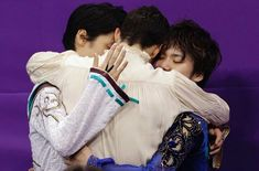 Olympic group hug with Yuzuru, Javier, Shoma