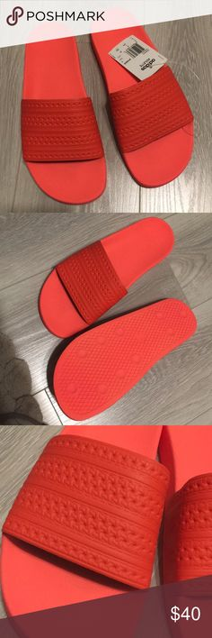 e12988e19665c9 Adidas Adilette Slides - solar red NWT!!!! Men s size 9   woman s