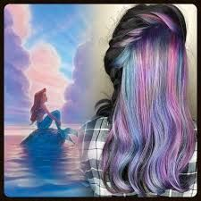 Little mermaid hair color Bold Hair Color, Bright Hair, Hair Colors, Bold Colors, Colorful Hair, Undercolor Hair, Hidden Hair Color, Little Mermaid Hair, Blue Purple Hair