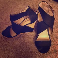 Black JUST Fab wedges Really cute shoes, worn once, great condition, just a little dust from sitting in my closet. JustFab Shoes Wedges