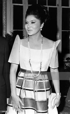 February Mrs Imelda Marcos pictured at a London reception : February Mrs Imelda Marcos (wife of the Philippine President) pictured at a London reception February Mrs Imelda Marcos pictured at a London reception Modern Filipiniana Gown, Filipiniana Wedding Theme, Ferdinand, Philippines Dress, Barong Tagalog, Filipino Culture, The Wedding Singer, Gala Dresses, Tea Length Wedding Dress