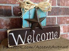 Welcome - Texas Home Decor Blocks. $27.95, via Etsy.