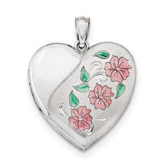 Sterling Silver 20mm Satin Pink Ribbon Love Heart Locket 0.94 in x 0.79 in