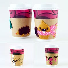 Cardboard  Felt Cup Cozies For Kids - not so much for keeping the drinks warm but more for keeping little hands from getting too hot :) | MollyMoo for @Spoonful