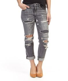 Washed Black High-Rise Straight-Leg Jeans