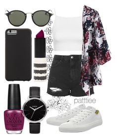 """080815"" by patttiee ❤ liked on Polyvore featuring Topshop, Converse, Ray-Ban, OPI, Case-Mate and Nixon"