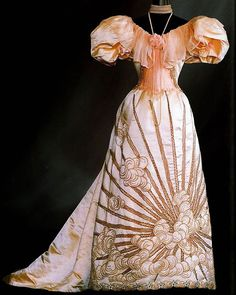 """tender-isthe-night: """"Charles Frederick Worth C. 1894 Skirt that flows neatly into a funnel shape, complemented with large gigot sleeves that gives the dress a fashionable Western European shape. Charles Frederick Worth, 1890s Fashion, Victorian Fashion, Vintage Fashion, Victorian Women, Women's Fashion, Vintage Outfits, Vintage Gowns, Historical Costume"""