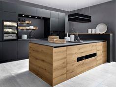 Japanese Home Decor, Japanese House, Minimalist House Design, Minimalist Home, Black Kitchens, Home Kitchens, Stylish Kitchen, Wine Storage, Küchen Design