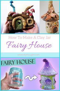 How To Make A Clay Jar Fairy House - diy Thought A glass jar covered in clay and you can make this stunning fairy house. #upcycle #fairy