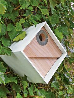 Cool Bird Houses - Bird Box - Modern Birdhouse for Chickadees Cool Bird Houses, Decorative Bird Houses, Bird House Plans, Bird House Kits, Farmhouse Landscaping, Modern Landscaping, Bird House Feeder, Bird Feeders, Modern Birdhouses