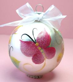 "Butterflies Are Free Ornament - Hand Painted Glass Ball Ornament - Baby""s Birth or Birthday or Christmas - Can be Personalized"
