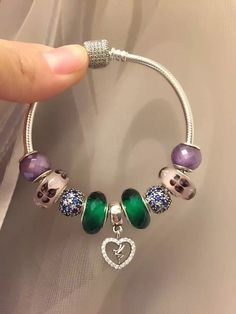 50% OFF!!! $239 Pandora Charm Bracelet Purple Green Blue. Hot Sale!!! SKU: CB01831 - PANDORA Bracelet Ideas