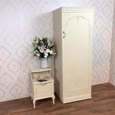 white wood wardrobe armoire shabby chic bedroom. Shabby Chic Wardrobe Armoire Bedside Painted Bedroom White French Louis Vintage In Antiques, Antique Furniture Wood H