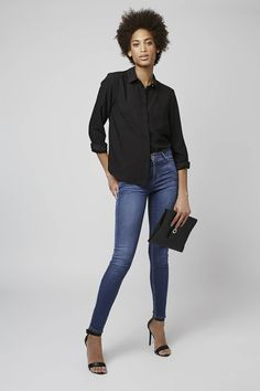 MOTO Pansy Blue Leigh Jeans - Topshop