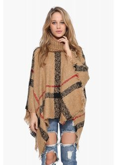 Plaid Poncho Sweater in Taupe | Necessary Clothing