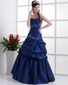 Taffeta Ruffle Floor Length Quinceanera Prom Dress