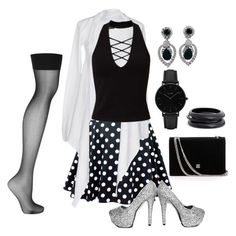 """""""Classic Noir pois blanc"""" by rikolechat ❤ liked on Polyvore featuring Twin-Set, Miss Selfridge, Ciner, CLUSE, ZENZii and Wolford"""