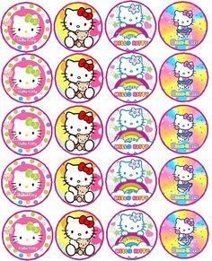 Hello Kitty Rainbow  on edible paper  for cupcakes by ZaharibyDina, $12.00