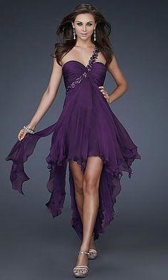 A-Line Chiffon One-Shoulder Long Dress Charm89278