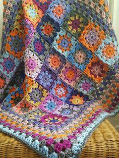 Crochet Blanket Kaleidoscope Flower Granny Squares Afghan