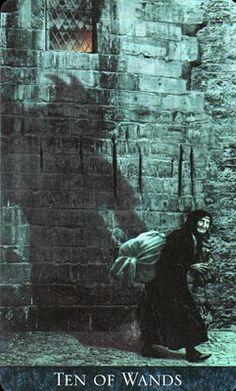 Ten of Wands ~ Bohemian Gothic Tarot by Karen Mahony. -- If you love Tarot, visit me at www.WhiteRabbitTarot.com
