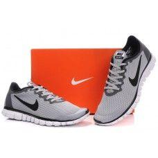 Opprinnelige Nike Free 3.0 V2 Mann lumièreGrise Svart Hvit balanserer{L7w9jn}