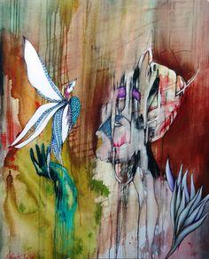 Something Admired woman with bird by MerandaTurbak on Etsy