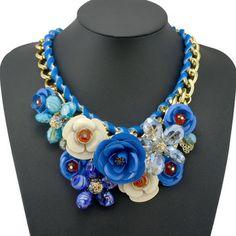 14,50$ 2014  New Design Spring Gold Chain Spray Paint Metal Flower Resin Beads Rhinestones Crystal Bib Necklace Luxury Jewelry