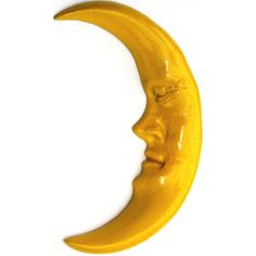 Handmade Yellow Crescent Moon, Classic Wall Sculpture Accents Your... ($36) ❤ liked on Polyvore featuring home, home decor, moon, yellow home accessories, handmade home decor, outdoor home decor, outdoor sculpture and outside home decor