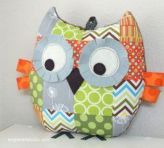 Medium Patchwork Owl Pillow Plush Stuffed Toy by angiebabygifts, $32.00