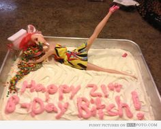 Girl's 21st birthday cake - Funny cake with vomiting girl figure for a 21st…