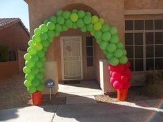 At the playroom door on hungry caterpillar week?--->Very Hungry Caterpillar Party balloons