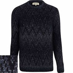 Navy blue geometric ombre jumper - jumpers / cardigans - sale - men