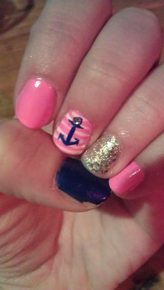 Navy and Pink Nautical nails- threw these on before a day at the pool with girlfriends! #diynails #navyandpinknails #nauticalnails