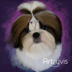 Lulla Summer #pet #dog #digitalpainting #watercolor #commission #shihtzu #artryvis