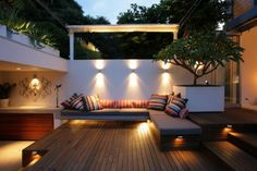 accent wall light with sectional sofa outdoor room