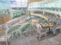 Mall Atrium Interior - pencil sketch with color wash