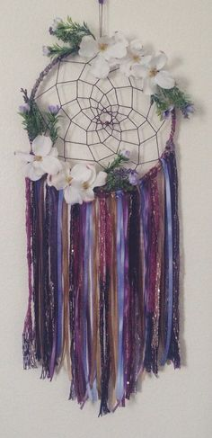Floral Bohemian Dreamcatcher with Hemp Cording // by MXLLYJANE