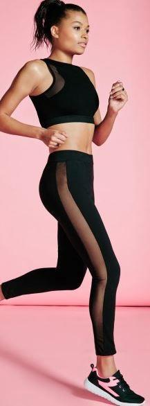 Missguided Active Mesh Inser Full Length Leggings Black