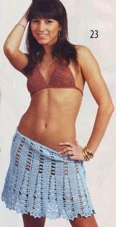Blue Skirt free crochet graph pattern == make it longer and add a waistband
