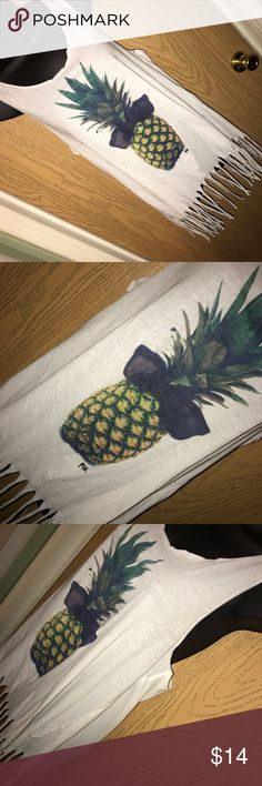 """White fringe PINK pineapple tank Cute white fringe tank with pineapple print on the front from PINK by Victoria's Secret. Good used condition. Size L. 20"""" from armpit to armpit. PINK Victoria's Secret Tops Tank Tops"""
