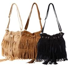 New Fashion Women Faux Suede Fringe Tassels Cross-body Bag Shoulder Bags Handbags(China (Mainland))