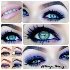 Quick and easy purple smokey eye pictorial  1.Apply mac black swan pencil on the lid and lower lash line.  2.Apply Inglot 39 eyeshadow over it mixed with a little bit of black eyeshadow. 4.Apply same Inglot 39 eyeshadow in the crease. 5.Line the lid using @addixtnc_ gel liner and apply smoulder mac on the waterline. Apply Creme lashes  LipsMac creme de nude - @maya_mia_y- #webstagram