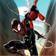 Ultimate Spider-Man / Miles Morales by J Reed Art Marvel Comics, Comics Anime, Marvel Comic Universe, Marvel Art, Marvel Heroes, Ms Marvel, Captain Marvel, Amazing Spiderman, Comics Spiderman