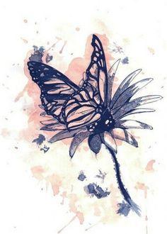 Эскиз тату - бабочка на ромашке
