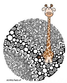 giraffe mandala tangle